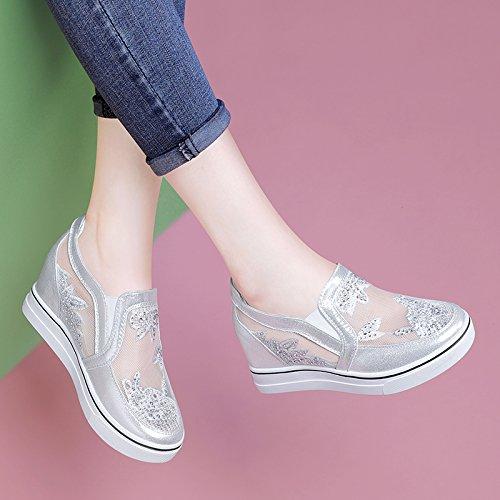 GTVERNH Damenschuhe/Sommer/Erhöhte Damenschuhe Wild Lässig Einzelne Hintern. Schuhe Atmungsaktiv Dicken Hintern. Einzelne  silvery 49019f