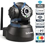 Sricam SP Series Wireless HD IP Wifi CCTV [Watch LIVE DEMO right now] indoor Security Camera (support upto 128 GB SD card) (Black Color)