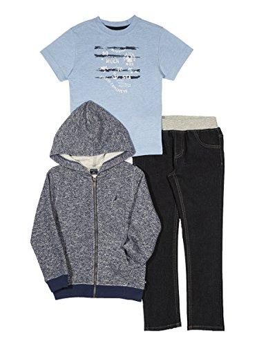 Nautica Baby Boys' Fleece Hoodie, Short Sleeve Tee, & Denim Jean Set, Retro Blue, 18 Months