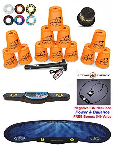 Speed Stacks Custom Combo Set: 12 ORANGE Cups, Cup Keeper, Quick Release Stem, Pro Timer, Gen3 Mat, 6 Snap Tops + FREE Bonus: Active Energy Power & Balance Necklace $49 Value