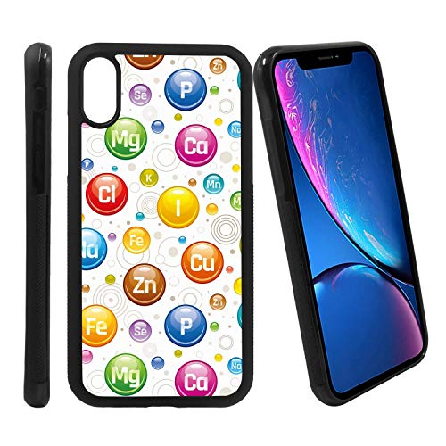[Vitamin Mineral Supplement icon Set] Compatible with Apple iPhone XR, Non-Slip Soft Rubber Side & Hard Back Case Cover Shell Skin