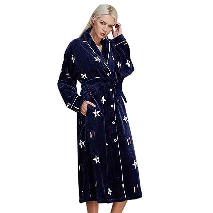 LW Batas de Mujer largas y Suaves cálidas Pijamas de Cuerpo Entero de Lujo lujosas señoras