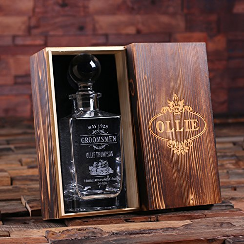 Personalized Whiskey Decanter with Round Bottle Lid and Wood Box
