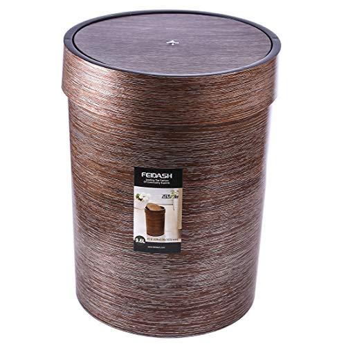 HMANE 10L Trash Can with Swing Top,Plastic Retro Style Wood Grain Waste Basket Swing-lid Garbage Bin