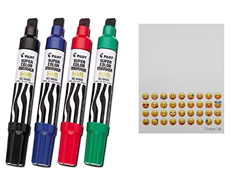 PILOT Jumbo Refillable Permanent Marker, Chisel Tip,Kit Black Red Blue Green Plus Free Gifts Emoji Printed Notepad From Advantage (Super Refillable Permanent Marker)