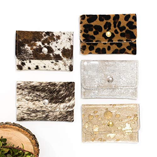 - Cowhide Wallet - Envelope Wallet - Card Holder - Small leather Wallet - Leopard, Gold, Brown & White, Gray, Animal Print, Silver