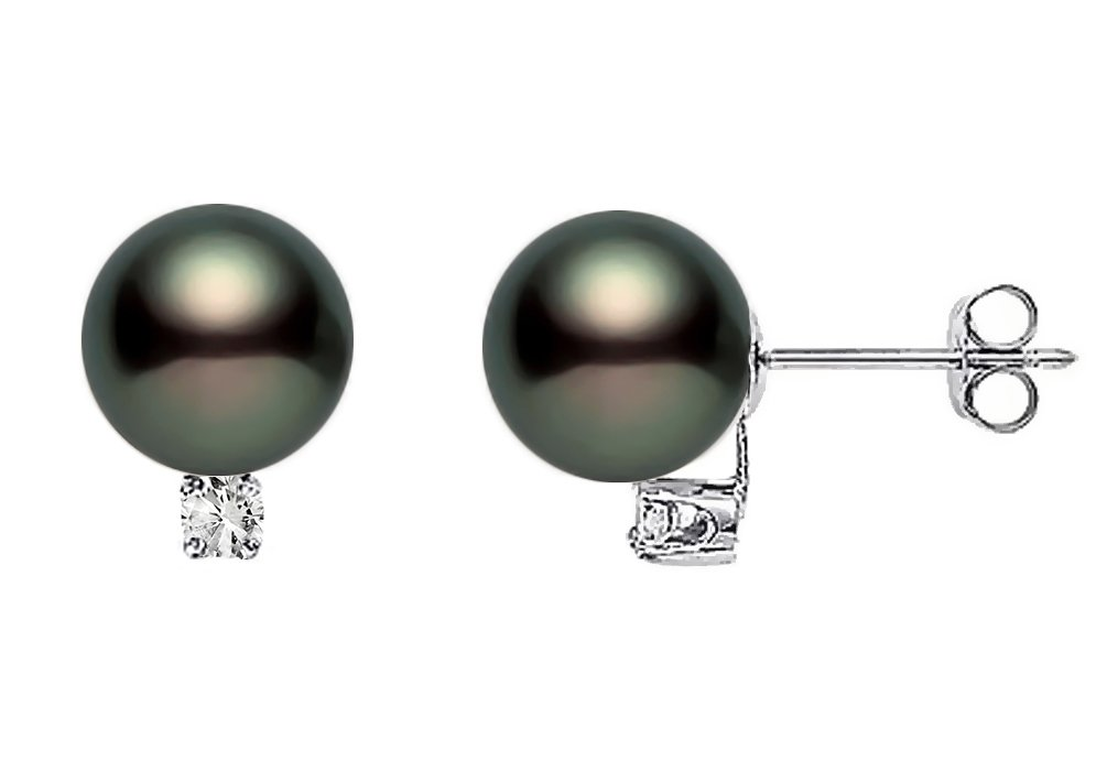 14k White Gold AAA Quality Black Freshwater Cultured Pearl Diamond Stud Earrings (7.5-8mm)