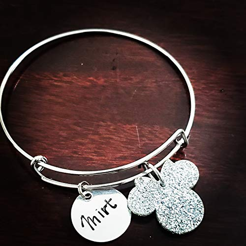 Mickey Mouse Charm Bangle, Expandable Stainless Steel Jewelry, Personalized Bracelet Customized Hand Stamped Name Charm, Personalized Gift, Your Own Saying, Gold Silver Disney (Personalized Disney Jewelry)
