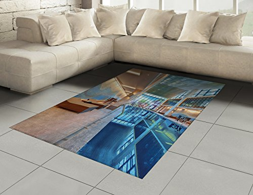 Spa Area Rug by Ambesonne, Indoor Swimming Pool with Relaxing Long Seats Calming Image Print, Flat Woven Accent Rug for Living Room Bedroom Dining Room, 5.2 x 7.5 FT, Turquoise Pale Blue and White by Ambesonne (Image #1)