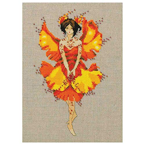 (Miss Ginko Kit Beaded Counted Cross Stitch by Nora Corbett Mirabilia Designs NC254 (Bundle: Chart, Beads) Autumn Pixies Collection)