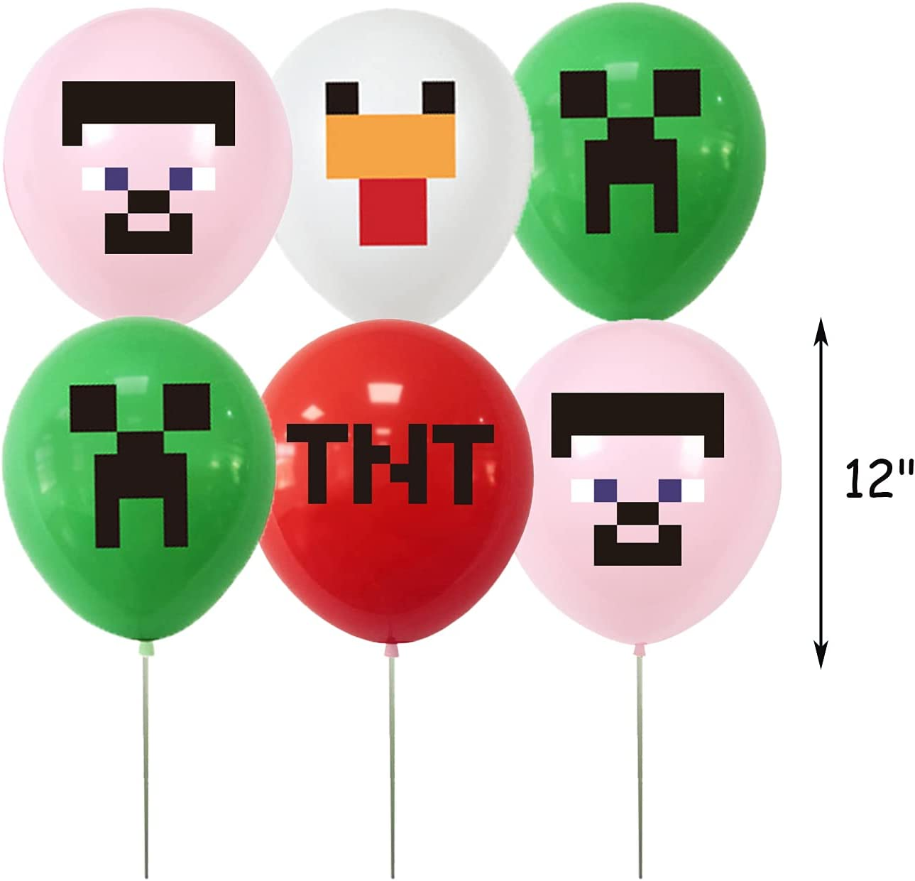 24pcs 12 Pixel Style Game Balloons Pixel Style Game Birthday Party Decorations Miner Crafting Style Decorations Pixel Game Miner craft Theme Party Favors Green