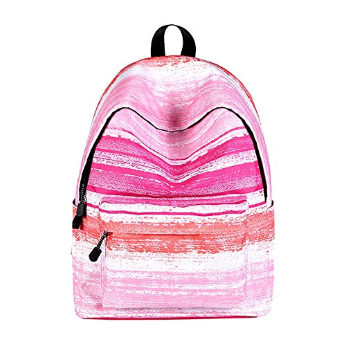 Sky-shop Casual Geometric Unisex Galaxy Pattern School Bag Backpack Rucksack Travel Laptop Book Bag Satchel Hiking Bag(Pink Stripes) Pink School Stripe