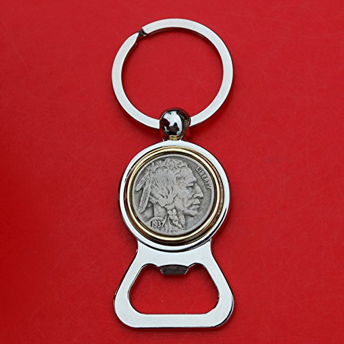 - US 1937 Indian Head Buffalo Nickel 5 Cent Coin Silver Gold Two Tone Key Chain Ring Bottle Opener NEW