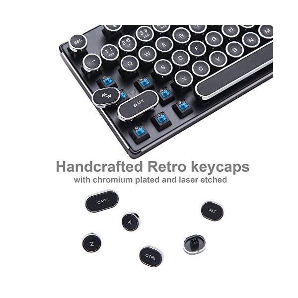 Migree USB Backlit Retro Typewriter Mechanical Keyboard-Khail Blue/Brown Switch-Full Metal Boby–LED Vintage Inspired Steampunk Gaming Keyboard–Mechanical Gaming Keyboard for PC/Mac/Gamer/Typist 4