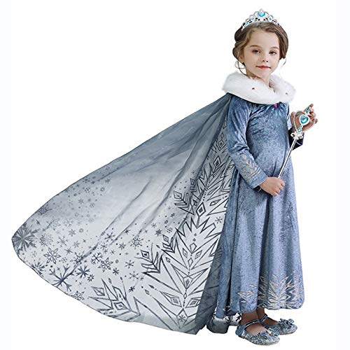 Winter Princess Dress Costume for Girls Snow Queen Theme Party Dress up Costumes,with Sparkle Ice Queen Crown and Wand(120cm/4-5Y)