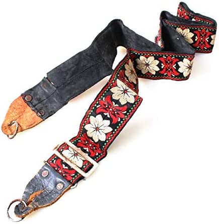 Red and White Flower Pattern Retro Wide Embroidered Camera Strap with Black Lining