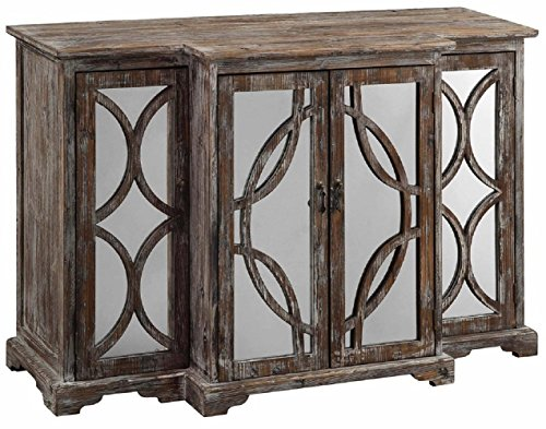 Crestview Collection Galloway Rustic Wood and Mirror 4 Door Sideboard from Crestview Collection
