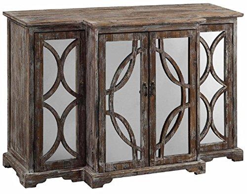 Crestview Collection Galloway Rustic Wood and Mirror 4 Door Sideboard