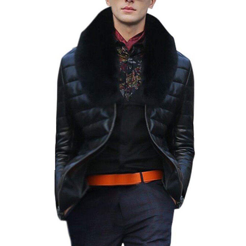 Men Clothes Clearance Charberry Faux Leather Jacket Warm Thickening Jacket Faux Fur Parka Outwear Cardigan Coat