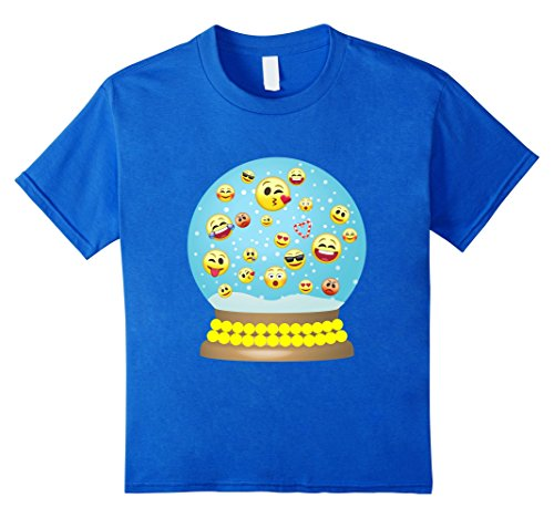 Halloween Snow Globe Costume (Kids Emoji Snow Globe Gift Shirt for Christmas Stocking Stuffer 12 Royal Blue)