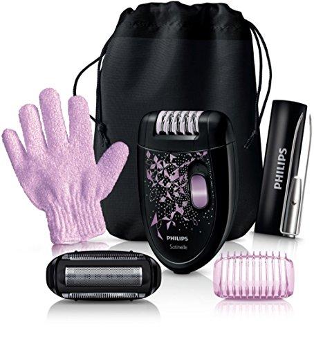 Philips Epilierer HP6424/01 +Scherkopf mit Trimmer Aufsatz + Luxus Pinzetten Set + Körperpeeling Handschuh
