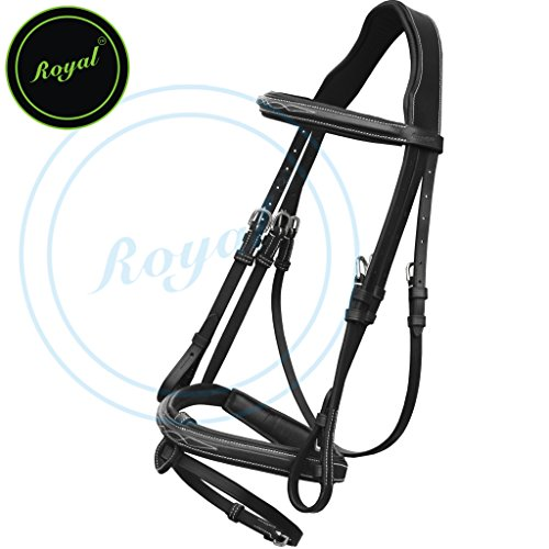 [Royal Fancy Raised Bridle with PP Rubber Reins./ Vegetable Tanned Leather./ Stainless Steel Buckles.] (35 Mm Bridle)