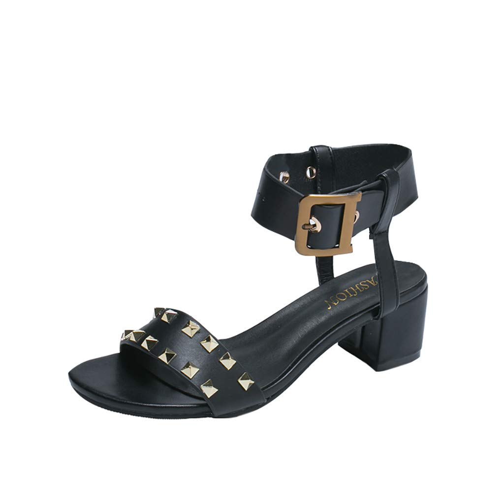 Women Sandals, LIM&Shop  Summer Flat Buckle Strap Studded Shoes Casual Block Heel Wedges Shoes Slipper Soft Non-Slip Black by LIM&SHOP-Sandals & Sneakers