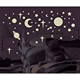 258 New Glow in the Dark Stars Suns Planets Wall Decals Kids Bedroom Stickers