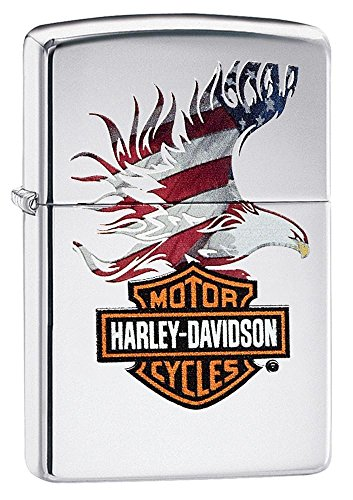 Personalized Zippo Lighter 28082 HHarley Davidson Eagle Wings High Polish Chrome Pocket Lighter ()
