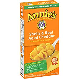 Annie's Macaroni and Cheese, Shells & Aged Cheddar Mac and Cheese, 6 oz Box (Pack of 12)