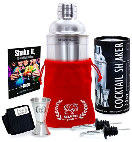 Cocktail Shaker Set by SILVERgrade - Professional Martini Bartender Kit - 24 Ounce Stainless Steel Shaker with