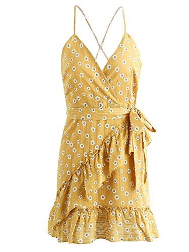 Simplee Apparel Women 's V Neck Cross back tie Wrap dot print mini vestido de correa de la cintura Amarillo