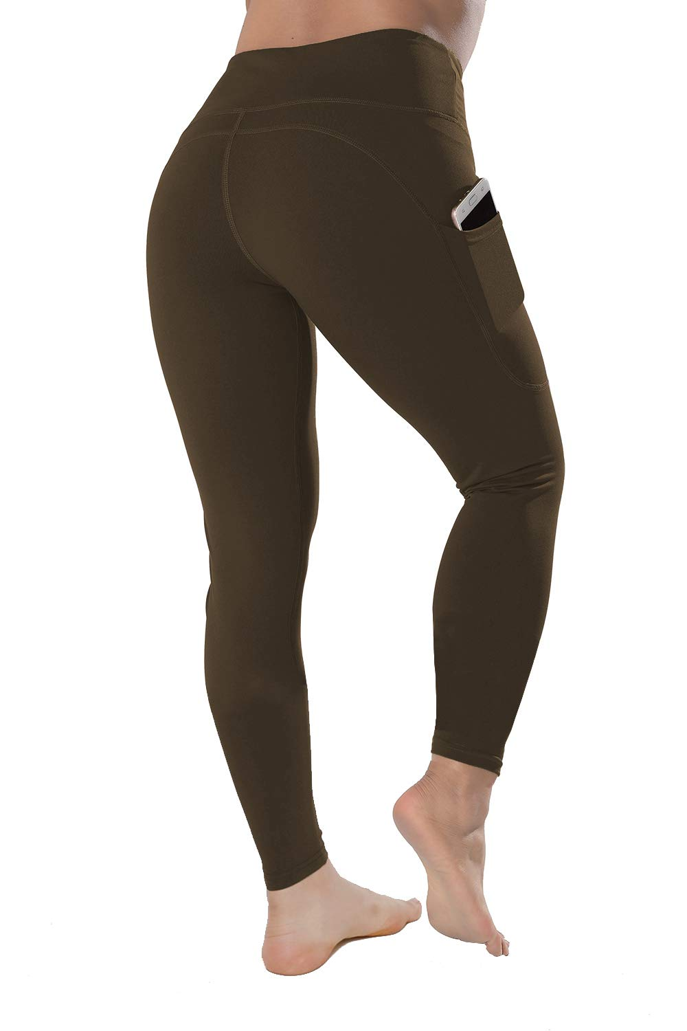 QYQ High Waisted Leggings with Pockets - Workout Leggings for Women Stretch Power Flex Yoga Pants - Full&Capri (Small, Coffe) by QYQ