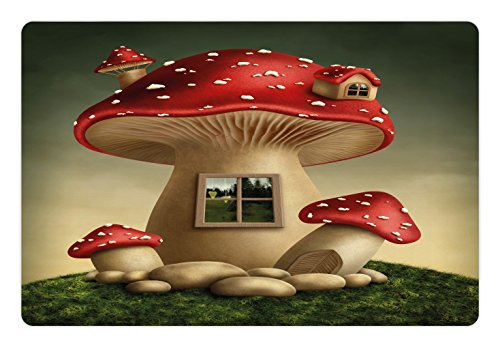 Mushroom Pet Mats for Food and Water by Lunarable, Alone Fantasy Mushroom House in Fantasy Forest Cottage Window Surreal, Rectangle Non-Slip Rubber Mat for Dogs and Cats, Pale Brown Green Red