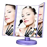 LEJU Makeup Mirror/Natural Daylight Lighted Vanity Mirror with Touch Screen Dimming, Detachable 10X Magnification Spot Mirror, Two Power Supply Mode (Purple)