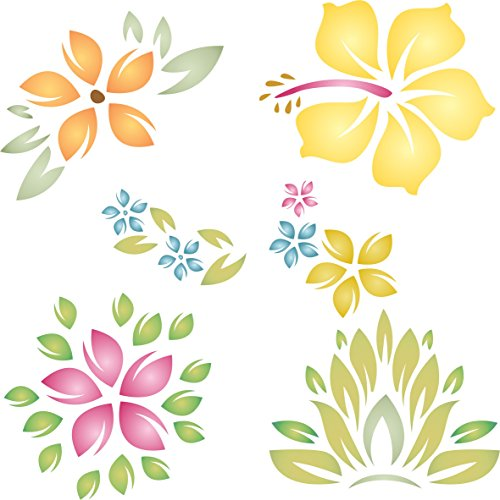 """Tropical Flowers Stencil - (size 10.5""""w x 10.5""""h) Reusable Wall Stencils for Painting - Best Quality Template Allover Wallpaper ideas - Use on Walls, Floors, Fabrics, Glass, Wood, and More…"""