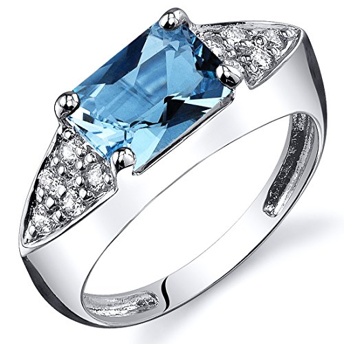 (Swiss Blue Topaz Ring Sterling Silver Rhodium Nickel Finish Radiant Cut 1.75 Carats Size 6)