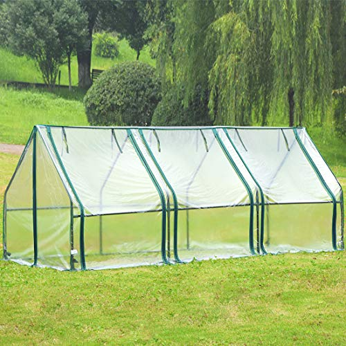 Quictent Waterproof UV Protected Reinforced Mini Cloche Greenhouse 95″ WX 36″ D X 36″ / 71″ WX 36″ D X 36″ H Portable Green Hot House- 50 Pcs T-Type Plant Tags Include (95″ X 36″ X 36″)