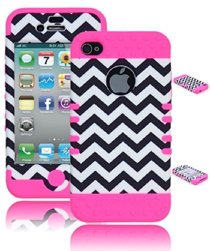 Bastex Heavy Duty Hybrid Protective Case - Black and White Chevron Design with Pink Soft Silicone Cover for Apple iPhone 4, 4g, 4s, 4gs
