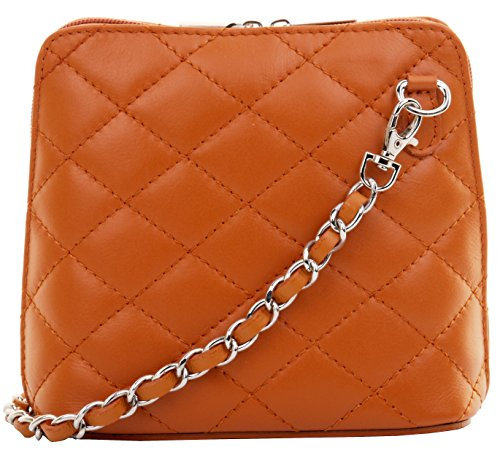 Primo Sacchi Italian Tan Leather Small/Micro Quilted Shoulder Bag - Bag Tan Quilted