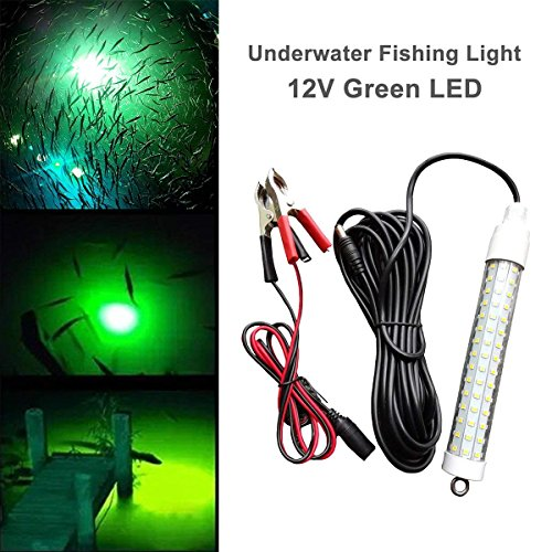 LinkStyle 12V 120 LED 1000 Lumens Lure Bait Finder 10.5W Night Fishing Finder Lamp Light Crappie Shad Boat LED Submersible Deep Drop Underwater Light Battery Clip Power Plug 6M Power Cord