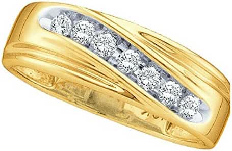 14kt Yellow Gold Mens Round Channel-set Diamond Wedding Anniversary Band Ring 1/4 Cttw