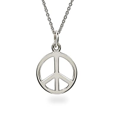 Amazon.com  Sterling Silver Peace Sign Necklace (16