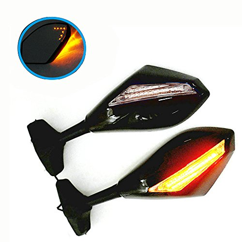 (Yibid Integrated Motorcycle LED Turn Signal Light Mirrors for Suzuki GSXR 600/750 2001-2003, 2009-2012, GSX 1300R Hayabusa 1999-2012, Solid Black, Arrow Maker Indicator Inside Mirror (Clear Len))