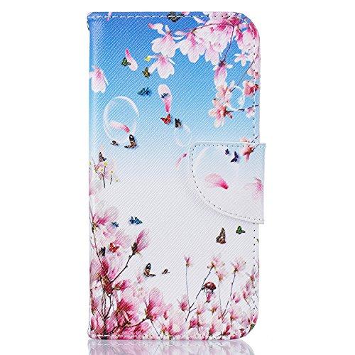 CaseHome iPhone 6 Plus/6S Plus 5.5 Funda de Cuero PU (Con Gratis Pantalla Protector) Único Vistoso Patrón Diseño Estilo de Libro Folio Cierre Magnético Característica del Soporte conRanura Para Tar Flor de la flor de la mariposa