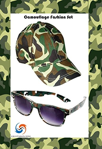 [M & M Products Online Green Camouflage Hat & Sunglasses Set! Includes adjustable size Hat & Green Camo sunglasses! Good costume] (Hillbilly Kids Costume)