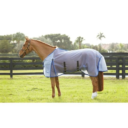 Weatherbeeta ComFiTec Ripshield Detach-A-Neck Fly Sheet, 75'' Center of Chest to Tail, White/Blue