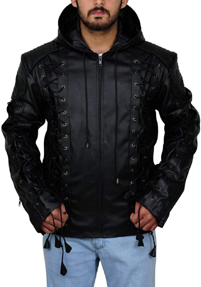 Parevaas Mens Arrows Colton Giacomo Baessato Haynes Lambskin Black Genuine Leather Hoodie Jacket
