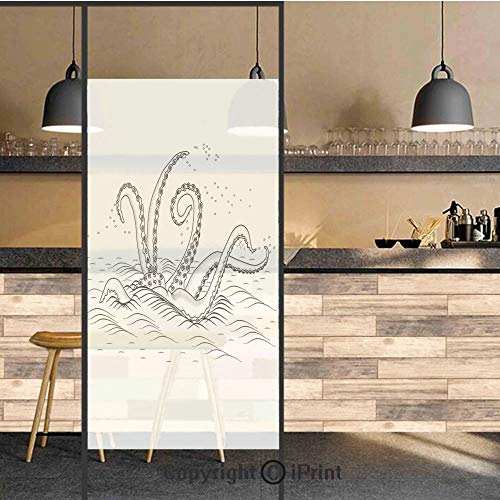 3D Decorative Privacy Window Films,Myth Legend Creature Tentacles on The Sea Wave Fantasy Sketchy Illustration,No-Glue Self Static Cling Glass Film for Home Bedroom Bathroom Kitchen Office 24x71 Inch