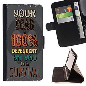 Skull Market - FOR HTC One M7 - depend on you - Caja de la carpeta del tir¨®n del cuero de la PU [con ranuras para tarjetas y cierre de solapa magn¨¦tica] P¨¢rese cubierta de la caja